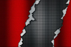 Red and white carbon fiber tear on the black metallic mesh. Background and texture. 3d illustration vector illustration