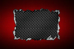 Red and white carbon fiber tear on the black metallic mesh. Background and texture. 3d illustration stock illustration