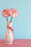 Red and White Carnations in a Vase. On a gingham tablecloth with a light blue background Stock Image