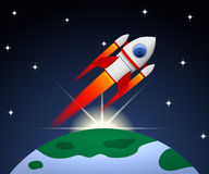 Red and white cartoon steel rocket flying on planet background w. Ith rising sun Stock Photos