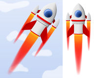 Red and white cartoon steel rocket flying. On sky background Stock Images