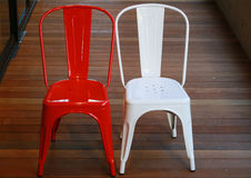 Red and white chairs. Red and white chair with flooring Royalty Free Stock Photography