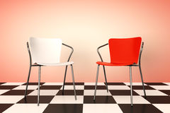 Red and White Chairs 3d rendering Stock Photos