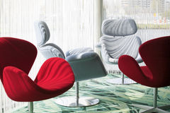 Red and white chairs Stock Image