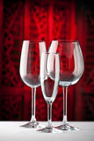 Red white champagne glasses Royalty Free Stock Photography