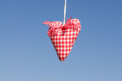 Red white checked heart of cloth Stock Photography