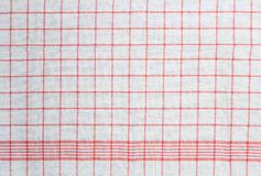 Red white checked kitchen towel background structure Stock Photo