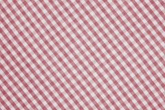 Red and white checkered fabric background texture Stock Photography