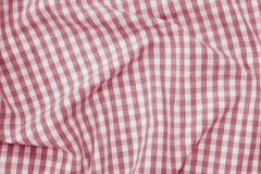 Red and white checkered fabric background texture Stock Photos