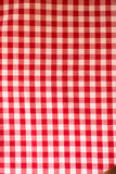 Red and white checkered fabric Stock Photography