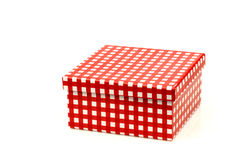 Red and white checkered gift box Royalty Free Stock Images