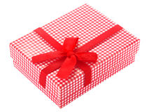 Red and white checkered gift box Royalty Free Stock Image