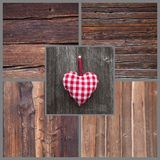 Red/white checkered heart shape hanging in country or shabby chi Royalty Free Stock Image