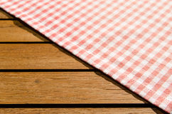 Red white checkered table cloth Stock Photo