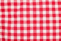 Red and White Checkered Table. Cloth Background royalty free stock photos