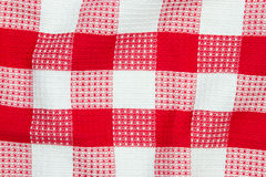 Red and white checkered table cloth Stock Image