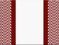 Red and White Chevron Zigzag Frame with Ribbon Background Royalty Free Stock Images