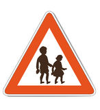 Red white children warning sign Stock Image