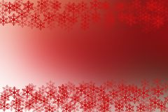 Red and white christmas background with snow flakes frame. Stock Image