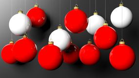 Red and white Christmas balls. On black background Stock Photo