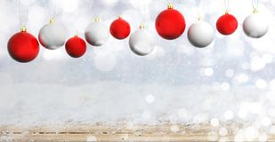 Christmas balls on wooden background with snow, copy space. 3d illustration. Red and white Christmas balls on wooden background with snow, copy space. 3d royalty free illustration
