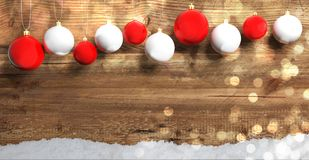 Christmas balls on wooden background with snow, copy space. 3d illustration. Red and white Christmas balls on wooden background with snow, copy space. 3d vector illustration