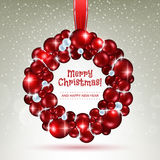 Red and white christmas balls wreath. Stock Photography