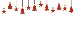 Red and white Christmas banner. Simple white red christmas banner with hanging christmas decoration vector illustration