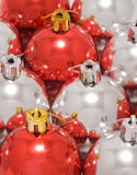 Red and white christmas baubles Royalty Free Stock Photos