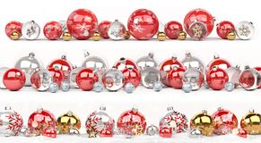 Red and white christmas baubles collection lined up 3D rendering. Red and white christmas baubles collection lined up on white background 3D rendering Royalty Free Stock Photography