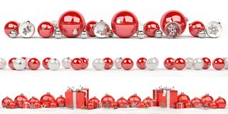 Red and white christmas baubles collection lined up 3D rendering. Red and white christmas baubles collection lined up on white background 3D rendering Royalty Free Illustration