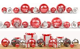 Red and white christmas baubles collection lined up 3D rendering. Red and white christmas baubles collection lined up on white background 3D rendering Stock Image