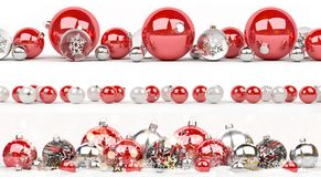 Red and white christmas baubles collection lined up 3D rendering Stock Images