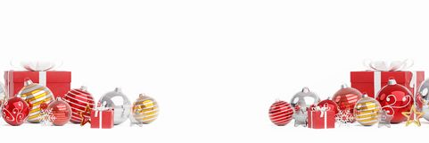 Red and white christmas baubles isolated 3D rendering royalty free illustration