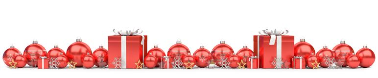 Red and white christmas baubles lined up 3D rendering. Red and white christmas baubles lined up on white background 3D rendering Stock Photos