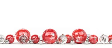 Red and white christmas baubles lined up 3D rendering. Red and white christmas baubles lined up on white background 3D rendering Royalty Free Stock Photos
