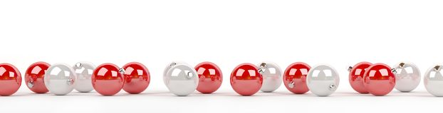 Red and white christmas baubles lined up 3D rendering. Red and white christmas baubles lined up on white background 3D rendering Royalty Free Stock Images