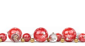 Red and white christmas baubles lined up 3D rendering. Red and white christmas baubles lined up on white background 3D rendering Stock Photo