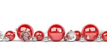 Red and white christmas baubles lined up 3D rendering. Red and white christmas baubles lined up on white background 3D rendering Stock Images