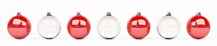 Red and white christmas baubles lined up 3D rendering. Red and white christmas baubles lined up on white background 3D rendering Royalty Free Stock Photo