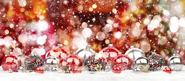 Red and white christmas baubles lined up 3D rendering. Red and white christmas baubles lined up on white background 3D rendering Stock Photography