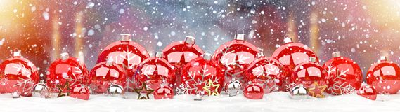Red and white christmas baubles lined up 3D rendering. Red and white christmas baubles lined up on candel snowy background 3D rendering royalty free illustration