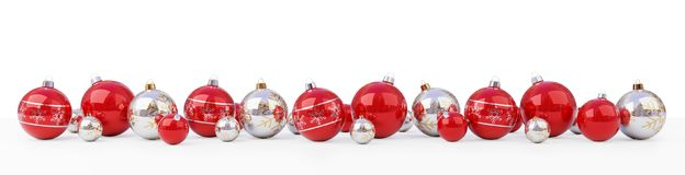 Red and white christmas baubles lined up 3D rendering. Red and white christmas baubles lined up on snow background 3D rendering Royalty Free Stock Image