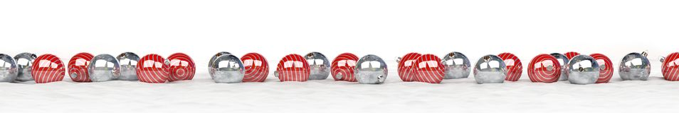 Red and white christmas baubles lined up 3D rendering. Red and white christmas baubles lined up on white background 3D rendering Stock Image