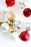 Red and white Christmas baubles Stock Photography