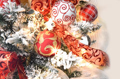 Red and white Christmas decorations Royalty Free Stock Images