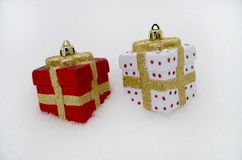 Red and white Christmas decorations stock photography