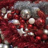 Red and White christmas decorations royalty free stock image