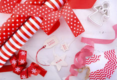 Red White Christmas Gift Wrapping. Royalty Free Stock Photo