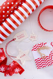 Red White Christmas Gift Wrapping. Royalty Free Stock Photos